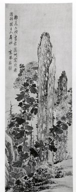 Gao Fenghan. Chrysanthemum and Garden Rocks, Hanging Scroll, 18th century. Ink and light color on paper, Image: 47 x 15 1/2 in. (119.4 x 39.4 cm). Brooklyn Museum, A. Augustus Healy Fund, Asian Art Acquisition Fund and Designated Purchase Fund, 78.150