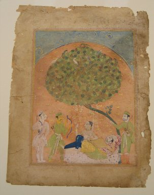 Indian. Laurak and Chanda Rest on Their Journey to a Trysting Place, Leaf from a Chandayana Manuscript, early 16th century. Opaque watercolor and gold on paper, sheet: 10 x 7 11/16 in.  (25.4 x 19.5 cm). Brooklyn Museum, Gift of Mr. and Mrs. H. Peter Findlay, 78.198