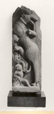 Shardula and Warrior, ca. 11th century. Sandstone, 26 1/4 x 8 1/2 in. (66.7 x 21.6 cm). Brooklyn Museum, Gift of Emily Manheim Goldman, 78.250.1. Creative Commons-BY