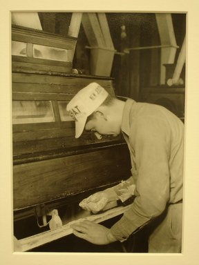 Lewis Wickes Hine (American, 1874-1940). [Untitled] ( Man at Flour Sifter), 1936-1937. Gelatin silver photograph, 7 1/4 x 4 3/4 in. (18.4 x 12.1 cm). Brooklyn Museum, Gift of the National Archives, 79.143.32