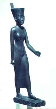 Statuette of the Goddess Neith, 664 B.C.E. - 525 B.C.E. Bronze, 9 5/8 x 2 x 2 3/4 in. (24.4 x 5.1 x 7 cm). Brooklyn Museum, Gift of William Bauer, 79.242. Creative Commons-BY