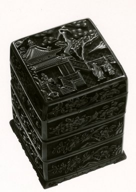 Stacked Boxes, 1368-1644. Carved cinnabar lacquer, Overall: 5 1/4 x 3 1/2 x 3 1/2 in. (13.3 x 8.9 x 8.9 cm). Brooklyn Museum, Gift of Dr.Myron Arlen, 79.248.2. Creative Commons-BY