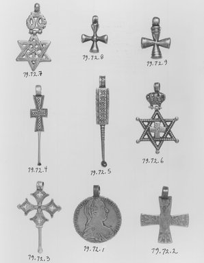 Amhara. Pendant Cross with Crown and Star of David, 19th or 20th centuries. Silver, 2 3/8 x 1 3/8 in. (6.0 x 3.5 cm). Brooklyn Museum, Gift of George V. Corinaldi Jr., 79.72.6. Creative Commons-BY