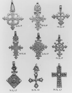 Amhara. Pendant Cross, 19th or 20th century. Silver, 2 1/8 x 1 1/2 in. (5.4 x 3.8 cm). Brooklyn Museum, Gift of George V. Corinaldi Jr., 79.72.24. Creative Commons-BY