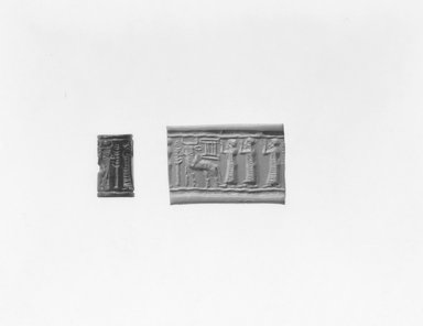 Ancient Near Eastern. Cylinder Seal, 2000-1700 B.C.E. Hematite (?), 3/4 x Diam. 7/16 in. (1.8 x 1.1 cm). Brooklyn Museum, Gift of Mr. and Mrs. Carl L. Selden, 80.173.2. Creative Commons-BY