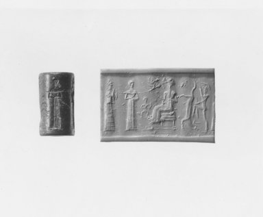 Ancient Near Eastern. Cylinder Seal, ca. 1800-1600 B.C.E. Stone, 1 1/8 x Diam. 11/16 in. (2.9 x 1.7 cm). Brooklyn Museum, Gift of Mr. and Mrs. Carl L. Selden, 80.173.4. Creative Commons-BY