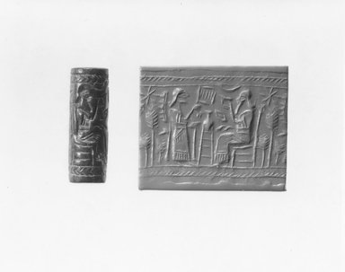 Ancient Near Eastern. Cylinder Seal, 9th century B.C.E. Stone, 1 5/8 x Diam. 9/16 in. (4.1 x 1.4 cm). Brooklyn Museum, Gift of Mr. and Mrs. Carl L. Selden, 80.173.5. Creative Commons-BY