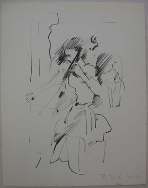 Rosemarie Beck (American, 1923-2003). Cellist, 1994. Lithograph, Sheet: 12 11/16 x 9 15/16 in. (32.2 x 25.3 cm). Brooklyn Museum, Anonymous gift, 80.209.1. © Rosemarie Beck Foundation