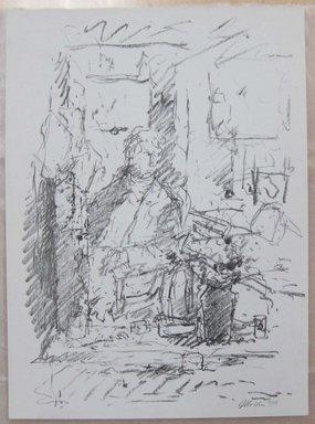 John Edward Heliker (American, 1909-2000). In the Studio, 1960. Lithograph, Sheet: 13 1/4 x 9 3/4 in. (33.7 x 24.8 cm). Brooklyn Museum, Anonymous gift, 80.209.49. © Estate of John Edward Heliker