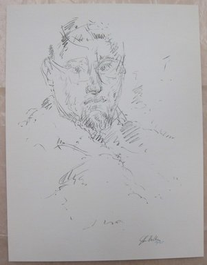 John Edward Heliker (American, 1909-2000). Self Portrait, 1960. Lithograph, Sheet: 12 5/8 x 9 5/8 in. (32 x 24.5 cm). Brooklyn Museum, Anonymous gift, 80.209.53. © Estate of John Edward Heliker