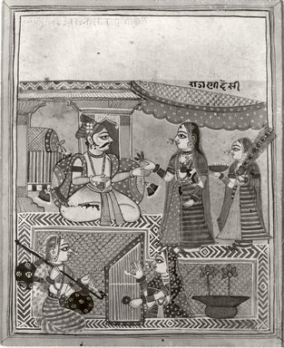 Indian. Desi Ragini, early 18th century. Opaque watercolor, gold, and silver on paper, sheet: 9 x 7 7/16 in.  (22.9 x 18.9 cm). Brooklyn Museum, Gift of Alan Kirschbaum, 80.268.2