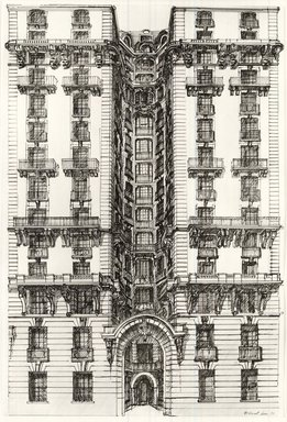 Richard Haas (American, born 1936). Ansonia-Side Entrance, 1970. Graphite, pen and ink on paper, 28 7/8 x 19 3/8 in. (73.3 x 49.2 cm). Brooklyn Museum, Gift of Nora and Stephen Gano, 81.259.4. © Richard Haas