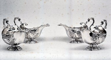 James Shruder. Sauceboat, One of Set, 1744-1745. Silver, 6 x 4 3/4 x 8 3/4 in. (15.2 x 12.1 x 22.2 cm). Brooklyn Museum, Bequest of Donald S. Morrison, 81.54.15. Creative Commons-BY