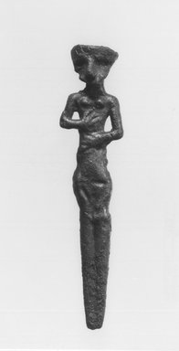 Statuette, 2000-1500 B.C.E. Copper, silver, 3 11/16 x 13/16 in. (9.3 x 2.1 cm) . Brooklyn Museum, Gift of Jonathan P. Rosen, 82.116.16. Creative Commons-BY
