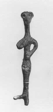 Syro/Lebanese Statuette, 2000-1500 B.C.E. Bronze, 3 1/4 x 3/4 in. (8.2 x 1.9 cm). Brooklyn Museum, Gift of Jonathan P. Rosen, 82.116.6. Creative Commons-BY