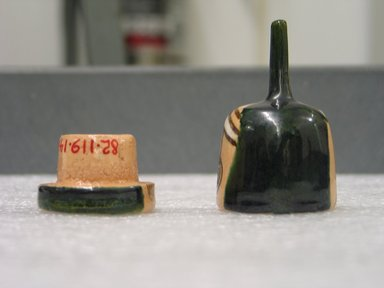 Goto Akimichi (Japanese,). Incense Box, ca. 1965. Stoneware; Oribe ware, 2 7/8 x 1 3/8 in. (7.3 x 3.5 cm). Brooklyn Museum, Gift of Martin Greenfield, 82.119.14. Creative Commons-BY