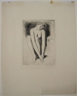 Kenneth Hayes Miller (American, 1876-1954). Woman Seated on Rug, n.d. Etching on paper, 19 5/16 x 14 1/4 in. (49 x 36.2 cm). Brooklyn Museum, Gift of Bernice and Robert Dickes, 82.142.1