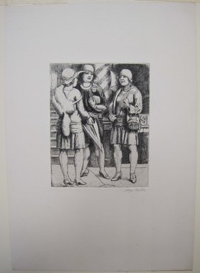 Kenneth Hayes Miller (American, 1876-1954). Three Girls Meeting, 1929. Etching on paper, 19 7/16 x 14 3/16 in. (49.3 x 36.1 cm). Brooklyn Museum, Gift of Bernice and Robert Dickes, 82.142.14