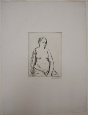 Kenneth Hayes Miller (American, 1876-1954). Seated Woman, 1925. Drypoint, folder: 19 5/16 x 14 3/16 in. (49 x 36.1 cm). Brooklyn Museum, Gift of Bernice and Robert Dickes, 82.142.7