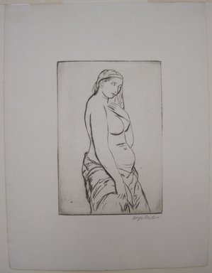 Kenneth Hayes Miller (American, 1876-1954). Pause, 1925. Drypoint on paper, folder: 19 3/8 x 14 in. (49.2 x 35.6 cm). Brooklyn Museum, Gift of Bernice and Robert Dickes, 82.142.8