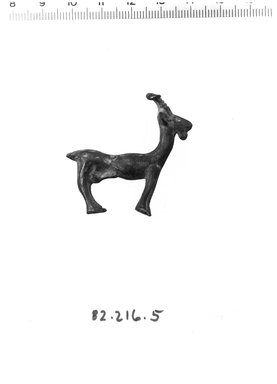 Statuette of Goat, ca. 1100-600 B.C.E. Bronze, 1 5/8 x 1 3/4 in. (4.2 x 4.5 cm). Brooklyn Museum, Gift of Ben B. Shepps, 82.216.5. Creative Commons-BY