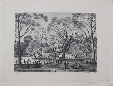 Adolf Arthur Dehn (American, 1895-1968). Prospect Park, 1945. Lithograph on Rives paper, Sheet: 14 3/4 x 19 1/2 in. (37.5 x 49.5 cm). Brooklyn Museum, Gift of Berry-Hill Galleries, Inc., 83.81. © Estate of Adolf Arthur Dehn
