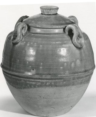 Early Northern Celadon Jar with Lid, 6th-7th century. Buff stoneware, 7 3/4 x 6 1/2 in. (19.7 x 16.5 cm). Brooklyn Museum, Gift of Dr. Ralph C. Marcove, 84.198.12a-b. Creative Commons-BY