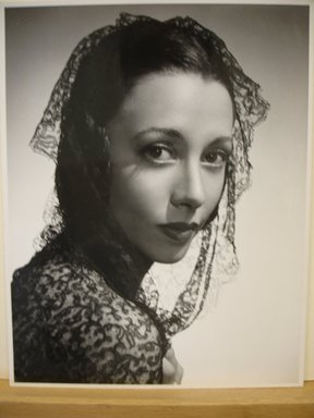 Philippe Halsman (American, born Latvia, 1906-1979). [Untitled]  (Brunette Woman Wearing Black Lace Shawl on Head and Shoulders), 1944. Gelatin silver photograph Brooklyn Museum, Gift of Dr. and Mrs. Arthur E. Kahn, 85.294.18. © Halsman Archive