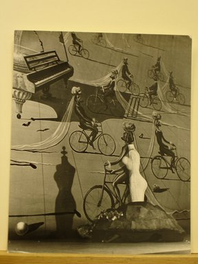 Philippe Halsman (American, born Latvia, 1906-1979). [Untitled]  (Mannequin Body with Shadow against Painting of Piano and Men on Bicycles), 1944. Gelatin silver photograph Brooklyn Museum, Gift of Dr. and Mrs. Arthur E. Kahn, 85.294.19. © Halsman Archive
