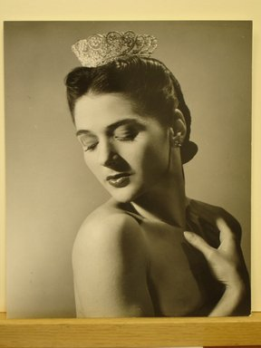 Philippe Halsman (American, born Latvia, 1906-1979). [Untitled]  (Brunette Woman with Eyes Closed and Head Pointing Down, Wearing Tiara), 1944. Gelatin silver photograph Brooklyn Museum, Gift of Dr. and Mrs. Arthur E. Kahn, 85.294.23. © Halsman Archive