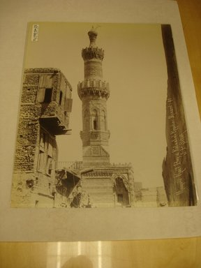 Pascal Sébah (Turkish, 1823-1886). Minaret of the Mosque of Qait Bey, late 19th century. Albumen silver photograph Brooklyn Museum, Gift of Matthew Dontzin, 85.305.23