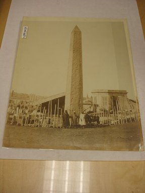 W. Hammerschmidt. Obelisk in Alexandria (with Egyptian Men Standing at Base), mid-19th century. Albumen silver photograph, image/sheet: 7 3/4 x 10 1/4 in. (19.7 x 26 cm). Brooklyn Museum, Gift of Matthew Dontzin, 85.305.34