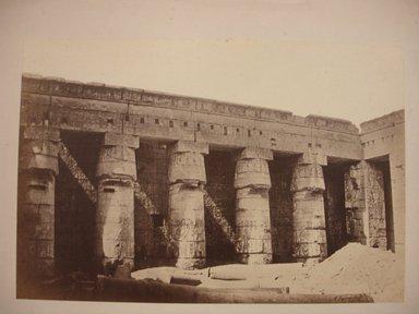 W. Hammerschmidt. Temple of Medinet Habu, mid 19th century. Albumen silver photograph, image/sheet: 7 3/4 x 10 1/4 in. (19.7 x 26 cm). Brooklyn Museum, Gift of Matthew Dontzin, 85.305.40
