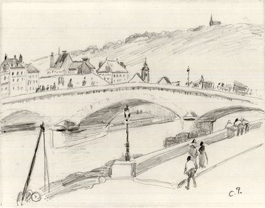 Camille Jacob Pissarro (French, born Danish West Indies, 1830-1903). Stone Bridge, Rouen (Pont de Pierre, Rouen), 1883. Pencil on light wove paper, Sheet: 7 1/2 x 8 7/8 in. (19.1 x 22.5 cm). Brooklyn Museum, A. Augustus Healy Fund and Carll H. de Silver Fund, 85.40.1
