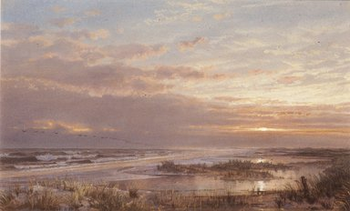 William Trost Richards (American, 1833-1905). A High Tide at Atlantic City, 1873. Opaque watercolor on cream, moderately thick, moderately textured wove paper, 8 7/16 x 13 15/16 in. (21.4 x 35.4 cm). Brooklyn Museum, Purchased with funds given by Mr. and Mrs. Leonard L. Milberg, 86.142