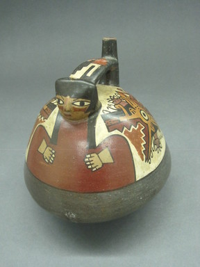 Nasca. Effigy Vessel, 300-600 C.E. Ceramic, polychrome slip, 6 1/8 x 5 11/16 x 5 11/16 in. (15.6 x 14.4 x 14.4 cm). Brooklyn Museum, Gift of the Ernest Erickson Foundation, Inc., 86.224.13. Creative Commons-BY