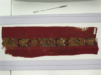 Coastal Wari (attrib by Nobuko Kajatani, 1993). Mantle or Mantle Border Fragment, 600-1000. Cotton, camelid fiber, 21 1/16 x 6 7/8 in. (53.5 x 17.5 cm). Brooklyn Museum, Gift of the Ernest Erickson Foundation, Inc., 86.224.72. Creative Commons-BY
