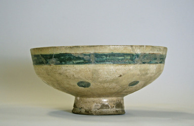 Bowl Depicting Bahram Gur and Azada, late 12th-early 13th century. Ceramic, mina'i (enameled) or haft rangi (seven colors) ware; fritware, in-glaze painted in blue, green, and brown on an opaque white glaze, overglaze painted in black, height x diameter: 4 x 8 5/16 in. (10.2 x 21.1 cm). Brooklyn Museum, Gift of the Ernest Erickson Foundation, Inc., 86.227.11. Creative Commons-BY