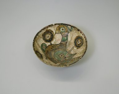 Bowl, 10th century. Ceramic, Sari ware, white engobe, brown, green, and yellow slip,transparent colorless glaze, 2 3/4 x 6 1/2 in. (7 x 16.5 cm). Brooklyn Museum, Gift of the Ernest Erickson Foundation, Inc., 86.227.2. Creative Commons-BY