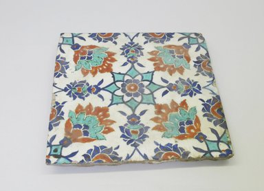 Tile, 16th century. Ceramic, cobalt-blue, turquoise, red and white glazes, 9 1/2 x 9 11/16 x 9 9/16 in. (24.1 x 24.6 x 24.3 cm). Brooklyn Museum, Gift of the Ernest Erickson Foundation, Inc., 86.227.200. Creative Commons-BY