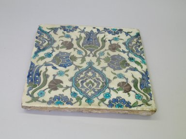 Tile, 16th century. Ceramic, cobalt-blue, purple, and turquoise glazes, 11 7/16 x 11 7/16 x 1 in. (29 x 29 x 2.6 cm). Brooklyn Museum, Gift of the Ernest Erickson Foundation, Inc., 86.227.91. Creative Commons-BY