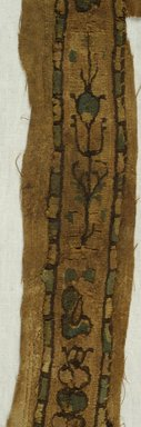 Coptic. Textile in the Form of a Clavus, 7th-10th century C.E. Flax, Wool, 4 1/8 x 41 3/4 in. (10.5 x 106 cm). Brooklyn Museum, Gift of Mr. and Mrs. Philip Gould, 86.249.2. Creative Commons-BY