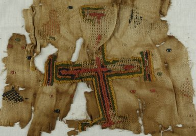 Coptic. Textile With a Cross Motif, 10th century C.E. (perhaps). Flax, 14 9/16 x 16 9/16 in. (37 x 42 cm). Brooklyn Museum, Gift of Mr. and Mrs. Philip Gould, 86.249.3. Creative Commons-BY