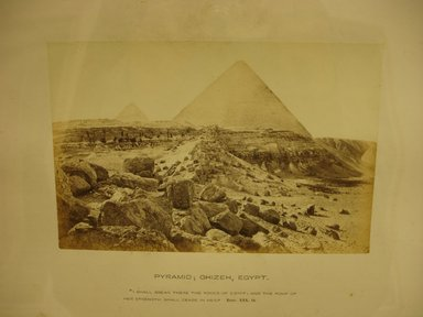 Frank Mason Good (English, active 1860-1880). Pyramid: Ghizeh, Egypt, 19th century. Albumen silver photograph, (10.3 x 15.7 cm). Brooklyn Museum, Gift of Alan Schlussel, 86.250.41