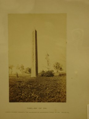 Frank Mason Good (English, active 1860-1880). Obelisk of ON, 19th century. Albumen silver photograph, (15.5 x 10.0 cm). Brooklyn Museum, Gift of Alan Schlussel, 86.250.44