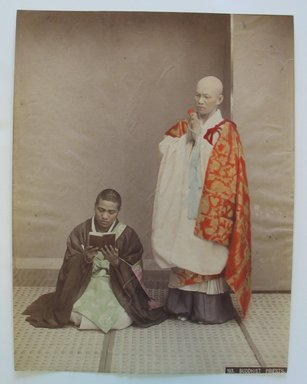 Buddhist Priests, ca. 1900. Tinted albumen silver photographs, 10 3/8 x 7 7/8 in. (26.4 x 20 cm). Brooklyn Museum, Gift of Matthew Dontzin, 86.256.24