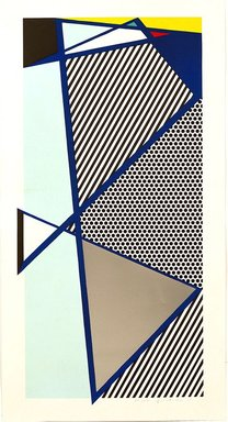 Roy Lichtenstein (American, 1923-1997). Imperfect Print for B.A.M., 1987. Woodcut and screenprint with silver paper collage on paper, sheet: 59 5/8 x 31 3/8 in. (151.4 x 79.7 cm). Brooklyn Museum, Purchased with funds given by Henry and Cheryl Welt, 87.213.3. ©  Estate of Roy Lichtenstein