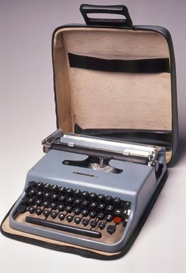 Marcello Nizzoli. Portable Typewriter with Cover and Carrying Case, designed in 1950, later manufacture. Painted metal, plastic, rubber, leatherette, 3 x 10 9/16 x 12 3/4 in. (7.6 x 26.8 x 32.4 cm). Brooklyn Museum, Anonymous gift, 88.106a-c. Creative Commons-BY