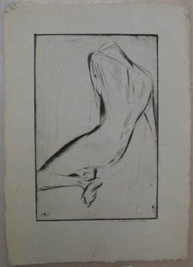 Werner Drewes (American, born Germany, 1899-1984). Figure Study II, Back View, Male Model, 1926. Drypoint on soft wove paper, Image: 8 7/8 x 5 7/8 in. (22.5 x 15 cm). Brooklyn Museum, Gift of Henry Ross, 88.173.2. © Estate of Werner Drewes