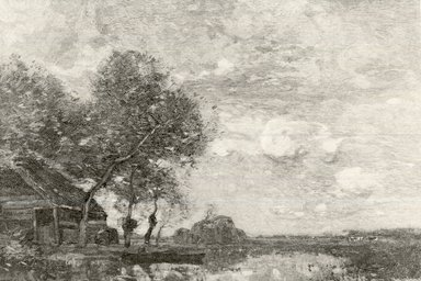 Henry Wolf (American, born France, 1852-1916). Landscape in Holland, 1893. Wood engraving on wove paper, 3 1/2 x 5 3/16 in. (8.9 x 13.2 cm). Brooklyn Museum, Purchased with funds given by Mr. and Mrs. Leonard L. Milberg, 88.50.6